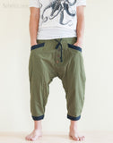 Casual 4/5 Length Cargo Unisex Capri Drop Crotch Pants Military Green front