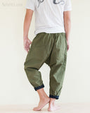 Casual 4/5 Length Cargo Unisex Capri Drop Crotch Pants Military Green rear