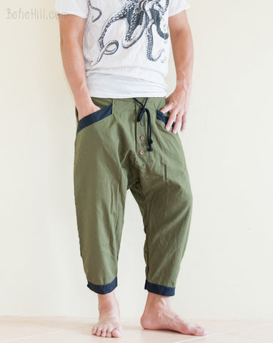 Casual 4/5 Length Cargo Unisex Capri Drop Crotch Pants Military Green relax