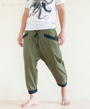 Casual 4/5 Length Cargo Unisex Capri Drop Crotch Pants Military Green walk