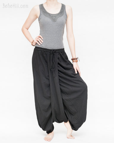 center drape baggy low crotch harem pants ethnic minimalist design soft stretch jersey cotton elastic waist drawstring skirt like trousers solid black right