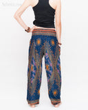 Chakra Peacock Yoga Pants Bohemian Harem Trousers (Midnight Blue II) back