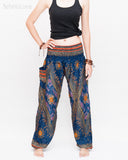 Chakra Peacock Yoga Pants Bohemian Harem Trousers (Midnight Blue II) front