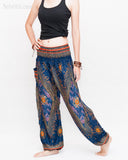 Chakra Peacock Yoga Pants Bohemian Harem Trousers (Midnight Blue II) side