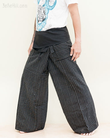 classic black fine white stripes extra long thai fisherman pants wrap around fold over waist low crotch trousers for tall people handwoven cotton jmx32 left