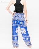 colorful bohemian nomadic elephant yoga pants loose fit gypsy genie bloomers trousers shirred waist royal blue back