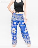 colorful bohemian nomadic elephant yoga pants loose fit gypsy genie bloomers trousers shirred waist royal blue front