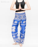 colorful bohemian nomadic elephant yoga pants loose fit gypsy genie bloomers trousers shirred waist royal blue namaste