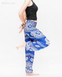 colorful bohemian nomadic elephant yoga pants loose fit gypsy genie bloomers trousers shirred waist royal blue side