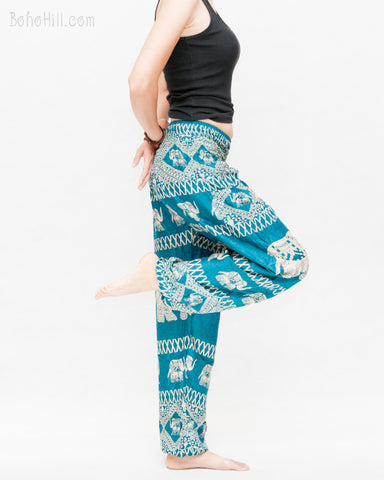colorful bohemian nomadic elephant yoga pants loose fit gypsy genie bloomers trousers shirred waist turquoise side