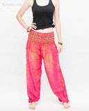 colorful bohemian peacock yoga pants loose fit gypsy genie bloomers trousers shirred waist cherry pink front