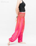 colorful bohemian peacock yoga pants loose fit gypsy genie bloomers trousers shirred waist cherry pink side