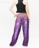 colorful bohemian peacock yoga pants loose fit gypsy genie bloomers trousers shirred waist royal purple back