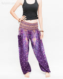 colorful bohemian peacock yoga pants loose fit gypsy genie bloomers trousers shirred waist royal purple front