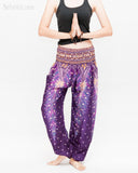 colorful bohemian peacock yoga pants loose fit gypsy genie bloomers trousers shirred waist royal purple namaste