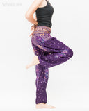 colorful bohemian peacock yoga pants loose fit gypsy genie bloomers trousers shirred waist royal purple side