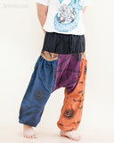 colorful patchwork baggy aladdin bloomers low crotch harem pants om sanskrit pattern relaxed loose fit pull on big pockets navy purple brown orange no19 walk