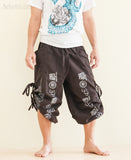 Convertible Aladdin Bloomers to Capri Pants Hindu Om Script Pattern Brown capri