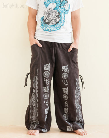 Convertible Aladdin Bloomers to Capri Pants Hindu Om Script Pattern Brown front