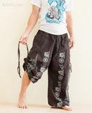 Convertible Aladdin Bloomers to Capri Pants Hindu Om Script Pattern Brown pull
