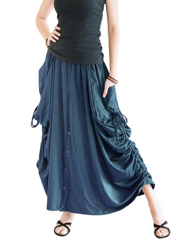 Convertible Skirt to Wide Leg Pants with Split Buttons and Pull On String (Teal) left