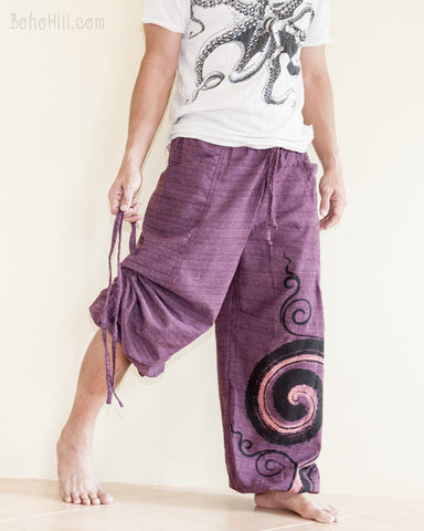 Convertible Textured Cotton Aladdin Unisex Parkour Pants Swirl Pattern Purple pulling
