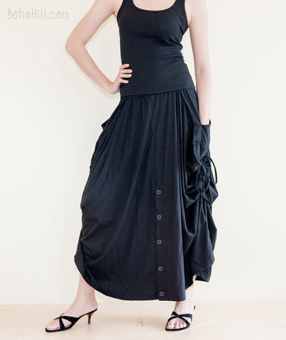 Creative Pants - Convertible Skirt To Wide Leg Pants With Split Buttons And Pull On String (Black)