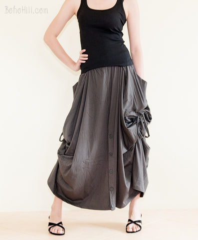 Creative Pants - Convertible Skirt To Wide Leg Pants With Split Buttons And Side Pull On (Charcoal)