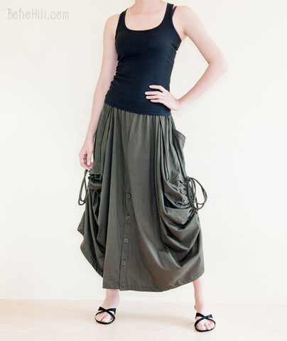 Creative Pants - Convertible Skirt To Wide Leg Pants With Split Buttons And Side Pull On (Olive)