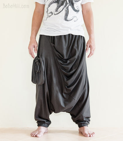 Creative Pants - Drape Curtain Long Baggy Unisex Harem Pants With Floating Bag (Charcoal Gray)