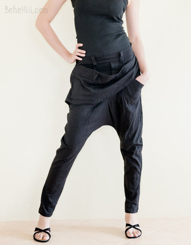 Creative Pants - Full Length Harem Drop Crotch Unisex Pants Jersey Cotton Detachable Pocket (Black)