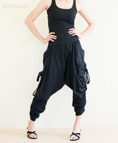 Creative Pants - Long Adjustable Harem Drop Crotch Pants Jersey Cotton Side Drawstring (Black)