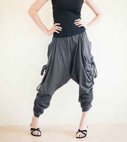 Creative Pants - Long Adjustable Harem Drop Crotch Pants Jersey Cotton Side Drawstring (Gray)