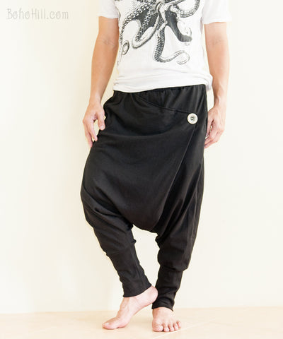 Creative Pants - Minimalist Unisex Harem Pants Heavy Jersey Knit Cotton Low Crotch Trousers (Black)