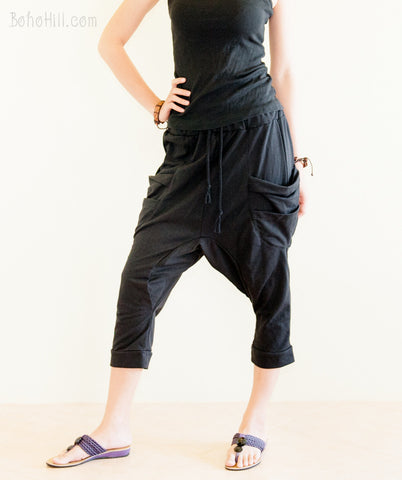 Creative Pants - Modern Capri Unisex Harem Pants Jersey Cotton Drop Crotch Trousers (Black)
