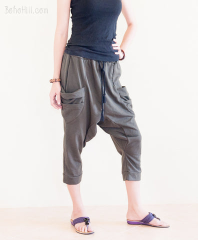 Creative Pants - Sporty Capri Unisex Harem Pants Jersey Cotton Drop Crotch Trousers (Charcoal)