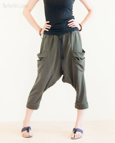 Creative Pants - Sporty Capri Unisex Harem Pants Jersey Cotton Drop Crotch Trousers (Olive Green)
