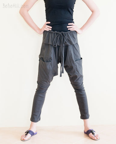Creative Pants - Urban Ninja Drop Crotch Unisex Pants Jersey Cotton With Oversize Pockets (Charcoal)