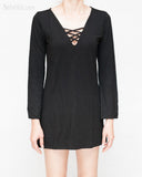 criss cross v-neck long bell sleeves casual mini dress sexy long womens top soft stretch viscose spandex weighty rayon plain black front