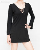 criss cross v-neck long bell sleeves casual mini dress sexy long womens top soft stretch viscose spandex weighty rayon plain black right
