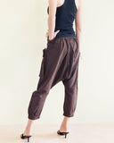 Cropped Harem 4/5 Length Drop Crotch Unisex Pants Detachable Pocket Dark Brown back