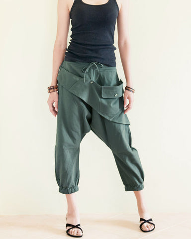 Cropped Harem 4/5 Length Drop Crotch Unisex Pants Detachable Pocket Military Green front2