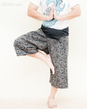 cropped length fisherman pants capri fold over wrap around yoga trousers black tribal meditation circle namaste