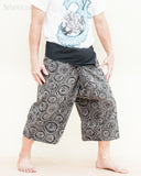 cropped length fisherman pants capri fold over wrap around yoga trousers black tribal meditation circle side