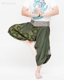 cropped samurai pants flexible active wrap around parkour flow trousers aizome indigo waist warrior japanese hakama zen meadow all green dance
