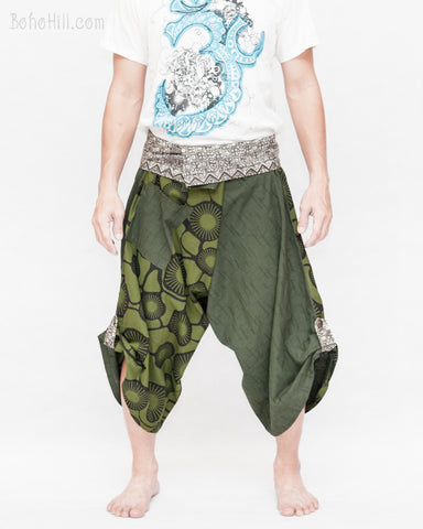 cropped samurai pants flexible active wrap around parkour flow trousers aizome indigo waist warrior japanese hakama zen meadow all green front
