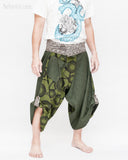 cropped samurai pants flexible active wrap around parkour flow trousers aizome indigo waist warrior japanese hakama zen meadow all green side