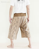 cropped thai fisherman pants capri fold over waist loose fit yoga trousers high quality long belt khaki brown inca aztec tribal design back