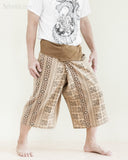 cropped thai fisherman pants capri fold over waist loose fit yoga trousers high quality long belt khaki brown inca aztec tribal design side