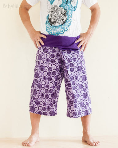 cropped thai fisherman pants fold over waist wrap around jungle yoga capris relaxed loose fit handmade cotton tribal spiral cool purple ii front